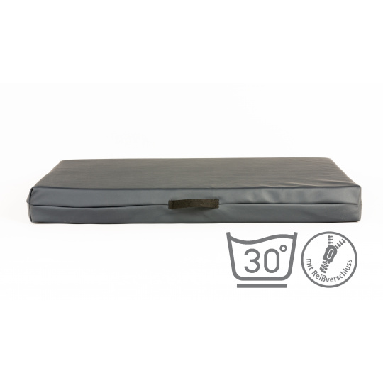 Matratze für Hunde mit abnehmbarem Bezug KUNSTLEDER GRAU 4XL 120x80cm 10cm hoch