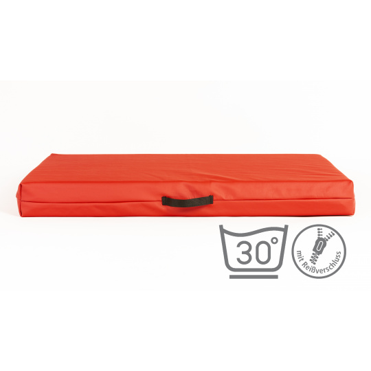 Matratze für Hunde mit abnehmbarem Bezug  KUNSTLEDER ROT 4XL 120x80cm 10cm hoch