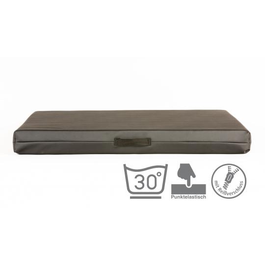 VISCO memory foam Matratze für Hunde mit abnehmbarem Kunstleder Bezug GRAU 4XL 120x80cm 10cm hoch